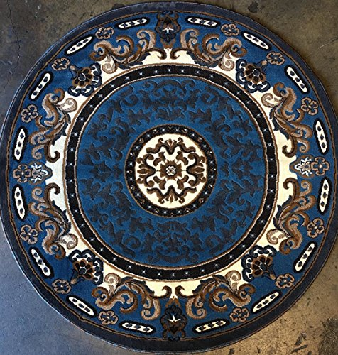 (Traditional Round Area Rug Blue Brown Persian Kingdom Design D123 (5 feet X 5 feet Round))