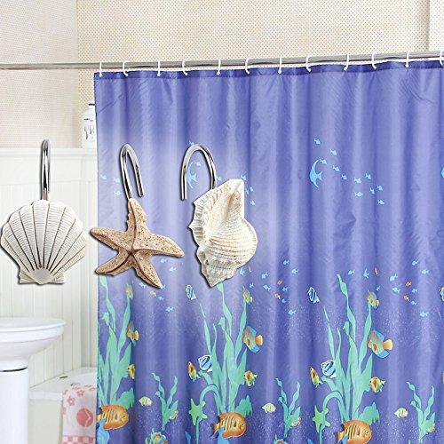 Beautiful Anti Rust Alloy Durable Seashell Shower Curtain Hooks