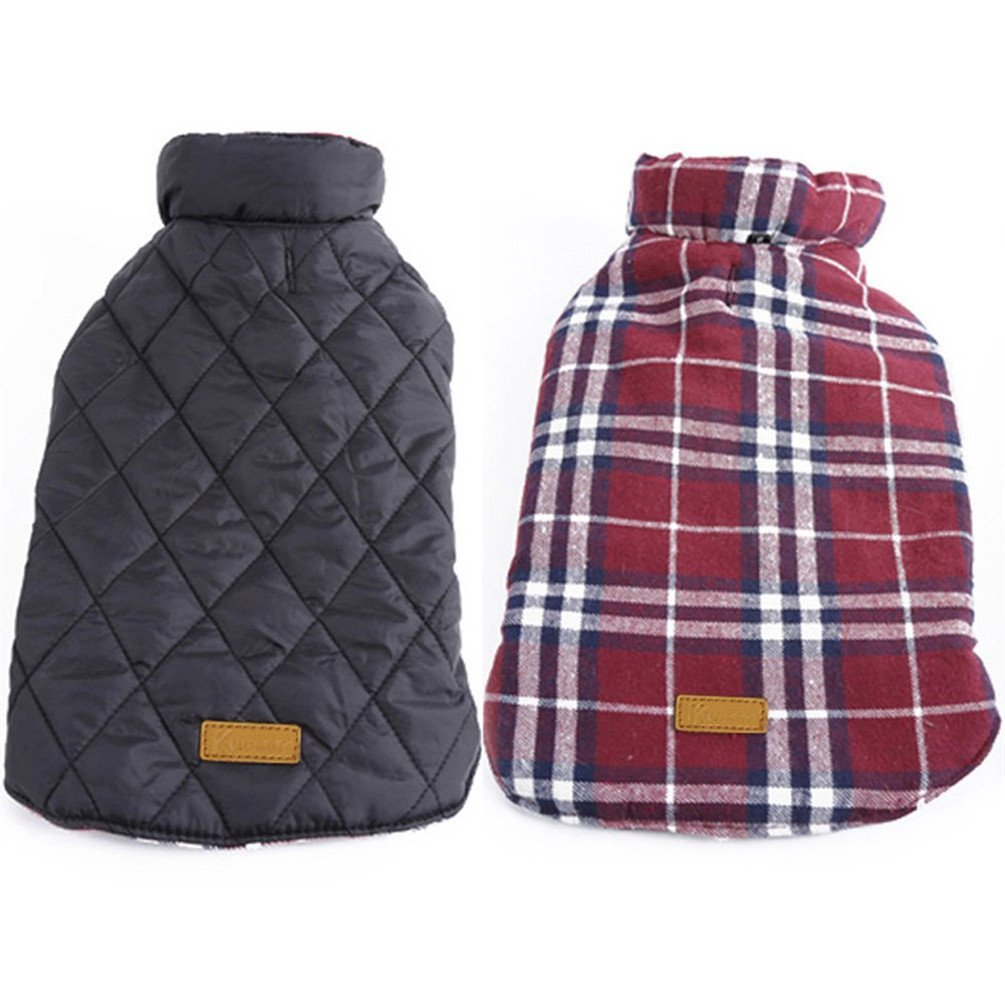 SAWMONG Dogs Winter Coat for Medium Large Waterproof Windproof Reversible British Style Plaid Jacket Cozy Vest Outdoor Pet Clothes Apparel