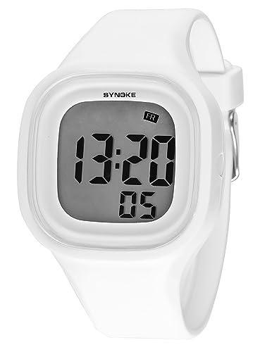 SYNOKE - Reloj de Pantalla LED Electrónico Digital para Estudiantes Adolescentes Chicos Estilo Simple Multifusiones Deportivo con Cronómetro con Regalo de ...