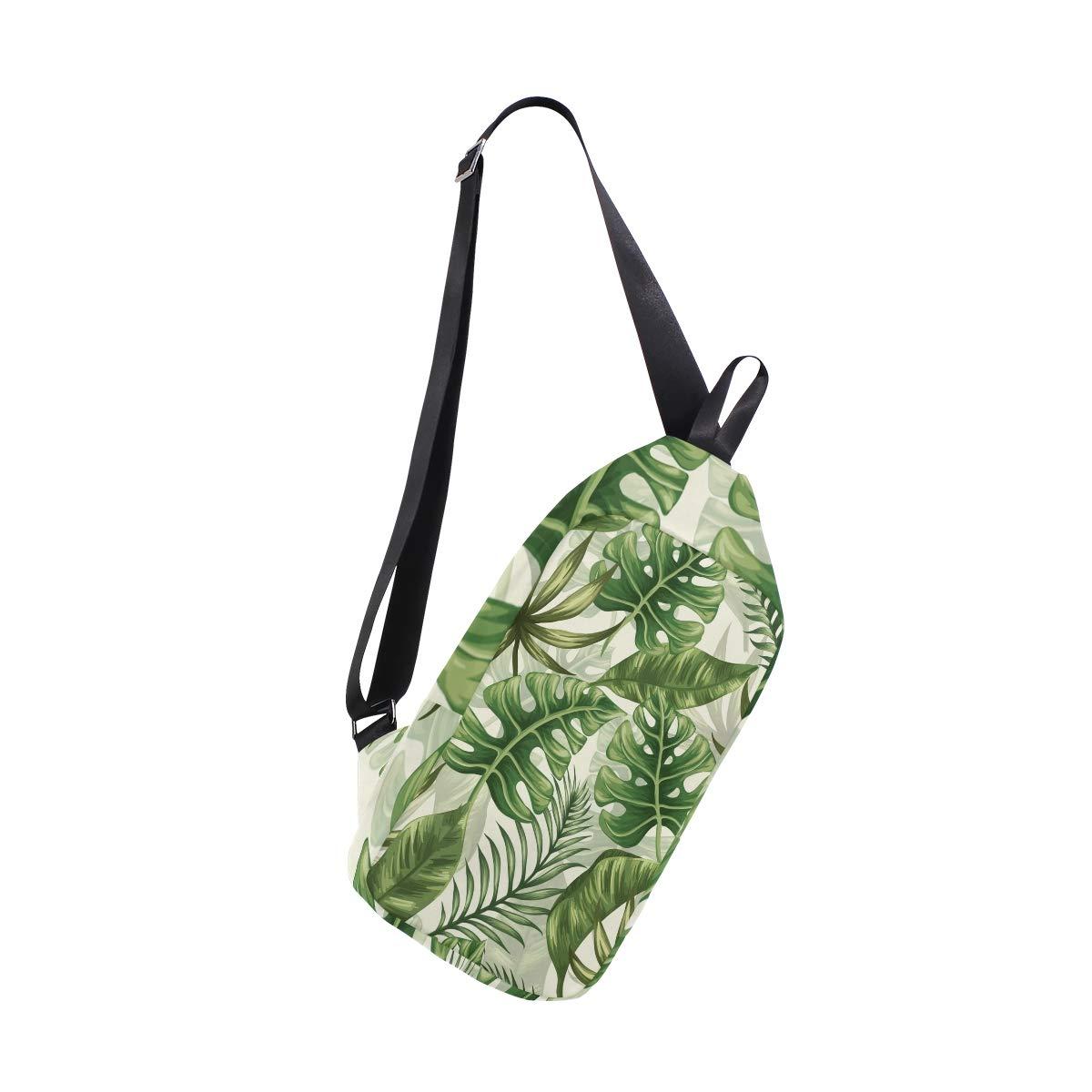 AHOMY Watercolor Tropical Leaf Messenger Bag Small Travel School Sling Bag Crossbody Bag