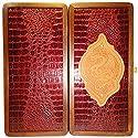 16` Gold Dragon Wooden Backgammon Set. Handmade Leather Board Game. Made Ukraine