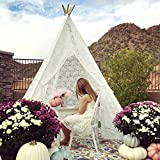 7' Giant Kids Lace Teepee Tent for Girls Teenagers Indian Tipi with Carry Bag for Indoor Outdoor Party, Wedding & Christmas Decor, by Tiny Land