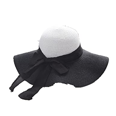 572aaffe38a Image Unavailable. Image not available for. Color  Fashion Black White  Striped Bowknot Summer Sun Hat Women Straw Beach Hat