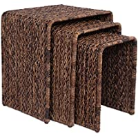 BirdRock Home 3 PC Abaca Nesting Tables | Espresso Bed Sofa Snack End Table | Accent Side Table | Living Room | Hand-Woven