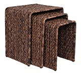 BirdRock Home 3 PC Abaca Nesting Tables | Espresso Bed Sofa Snack End Table | Accent Side Table | Living Room | Hand-Woven Review
