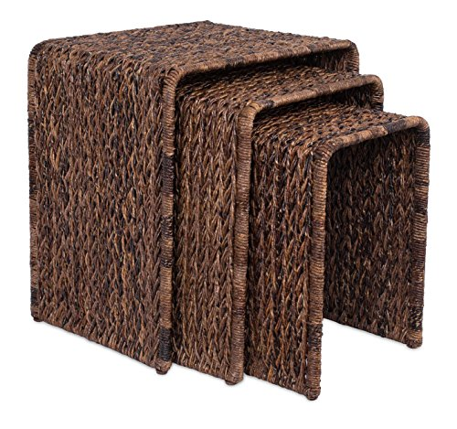 Living Room Rattan End Table (BirdRock Home 3 PC Abaca Nesting Tables | Espresso Bed Sofa Snack End Table | Accent Side Table | Living Room | Hand-Woven)