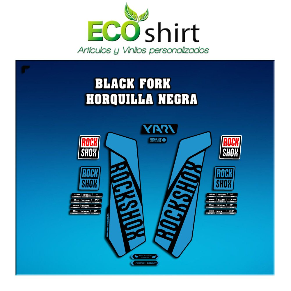 Ecoshirt JF-4PKQ-L6CC Pegatinas Stickers Fork Rock Shox Yari 2017 Am118 Aufkleber Decals Autocollants Adesivi Forcela Azul Claro