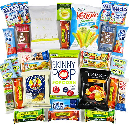 CraveBox - Deluxe Healthy - Variety Assortment Bundle of Fruit Snacks, Granola Bars, Popcorn, Veggie Chips, Fruit Chews, and More!! (30 Count) (Healthy Easter Baskets For Kids)