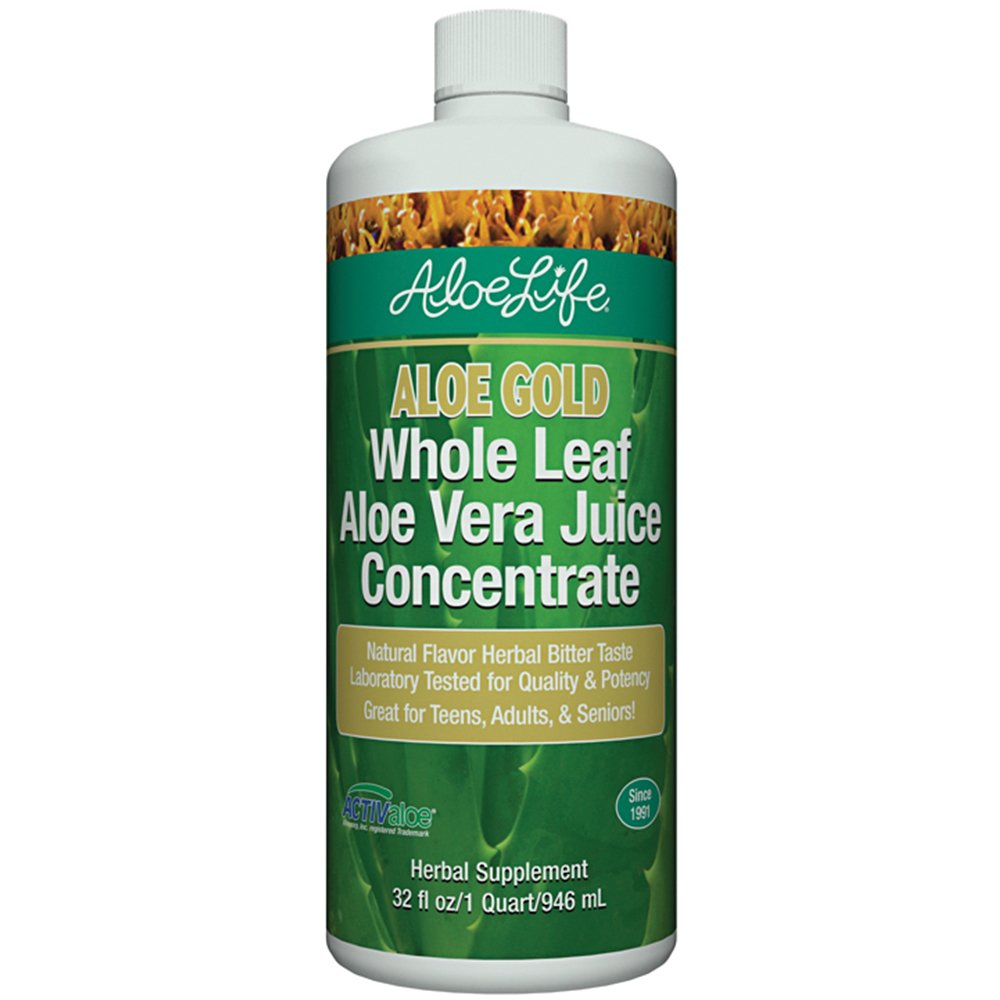 Aloe Life Gold Whole Leaf Juice Concentrate With Organic Aloe Vera - 32 oz - Supports Optimal Digestion + Overall Well Being - Premium ActivAloe Certified Supplement