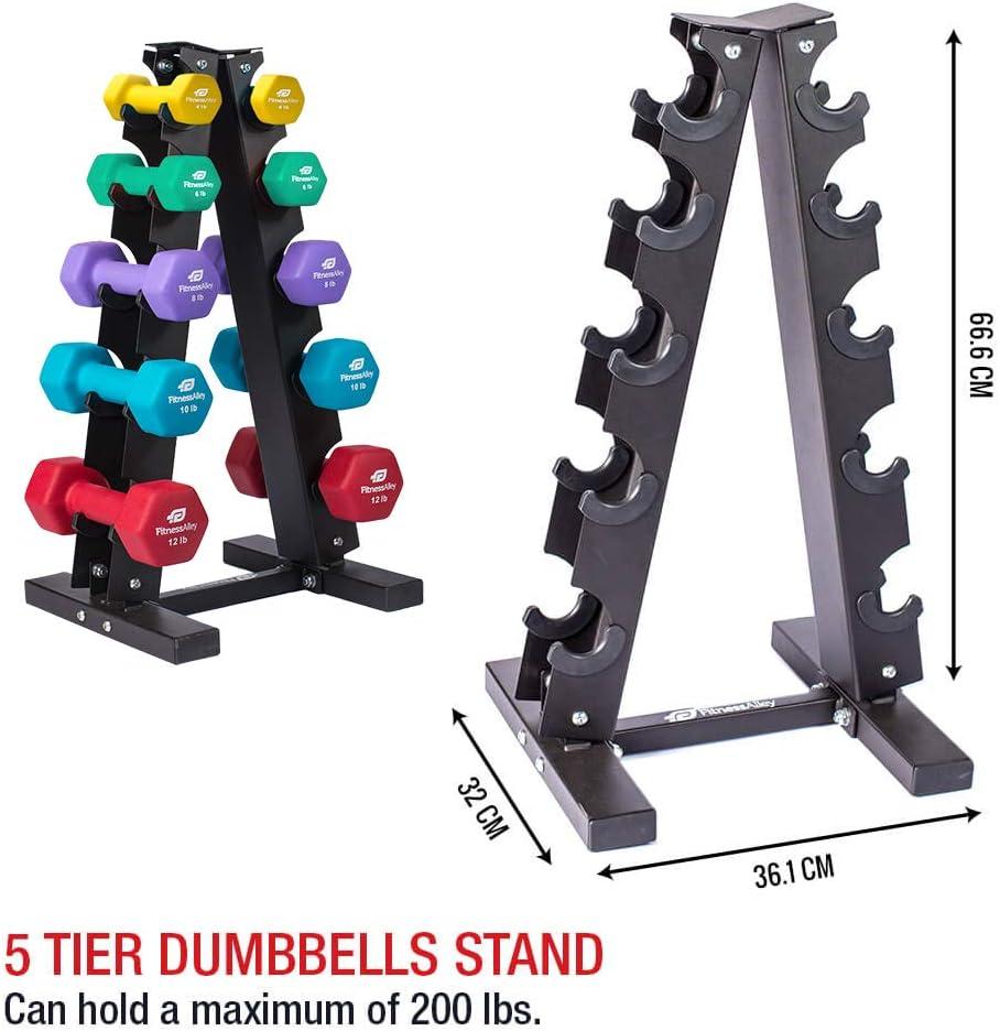 Fitness Alley Steel Dumbbell Rack – 5 Tier Weight Holder 5 Tier Weight Rack Dumbbell Stand – Dumbbell Holder – Dumbbell Rack Stand 5 Tier Rack 4,6,8,10,12 lbs Dumbbells