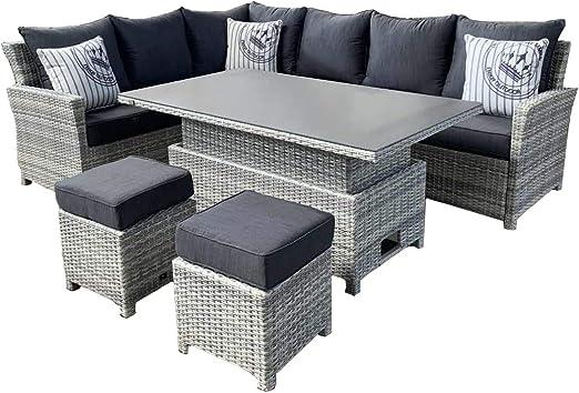 Mandalika Garden Parla Deluxe - Conjunto de muebles de jardín (ratán sintético, incluye mesa regulable en altura): Amazon.es: Jardín