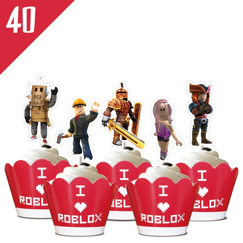 24 Roblox Wrapper Cupcake Toppers Birthday Party Supplies Cake Decorations Set for Children by Phoenix Party by Phoenix Party