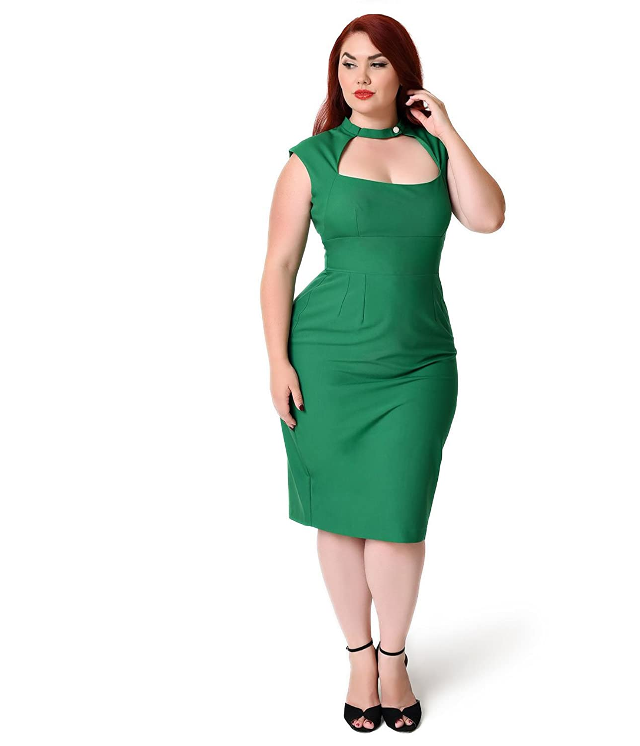 Glamour Bunny Plus Size 1960s Green Cap Sleeve Katherine Cutout Wiggle Dress