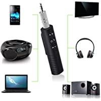 ShopAIS BT450 Wireless Bluetooth Receiver 3.5mm Jack Stereo Bluetooth Audio Music Receiver Adapter for Speaker Quastro Car Aux Hands Free Kit Compatible with All Android, iOS and iOS Devices