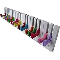 QIEP Design Hoed en kapstok in Piano Key Design/Gekleurde sleutels met 16 haken