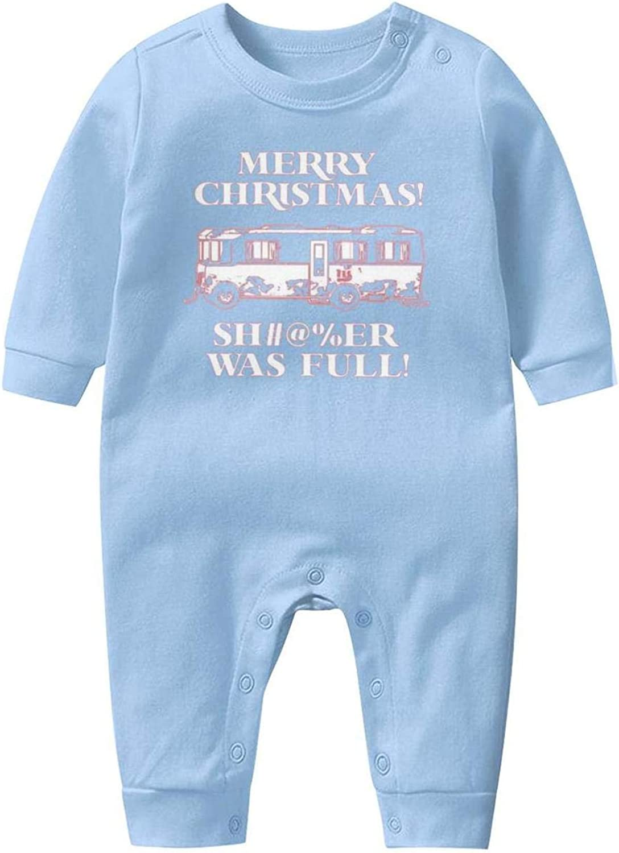 Merry Christmas Shitter was Full Baby Onesie Organic Cotton Novelty Soft Boy Long Sleeve Romper