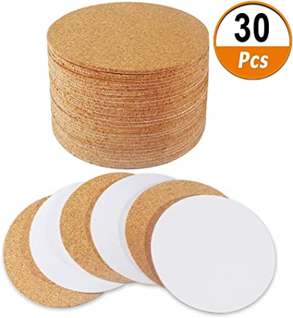"""30 Pack Self-Adhesive Cork Round 4/"""" Cork Tiles Cok Bcking Sheets Cork Coasters Round for DIY Crafts"""