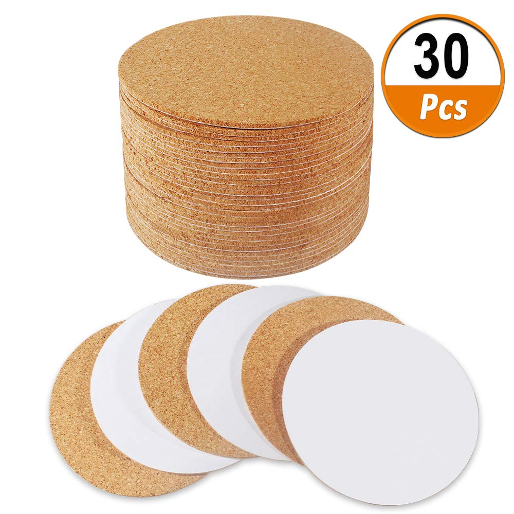 "30 Pack Self-Adhesive Cork Round 4"" Cork Tiles Cok Bcking Sheets Cork Coasters Round for DIY Crafts Heqishun"