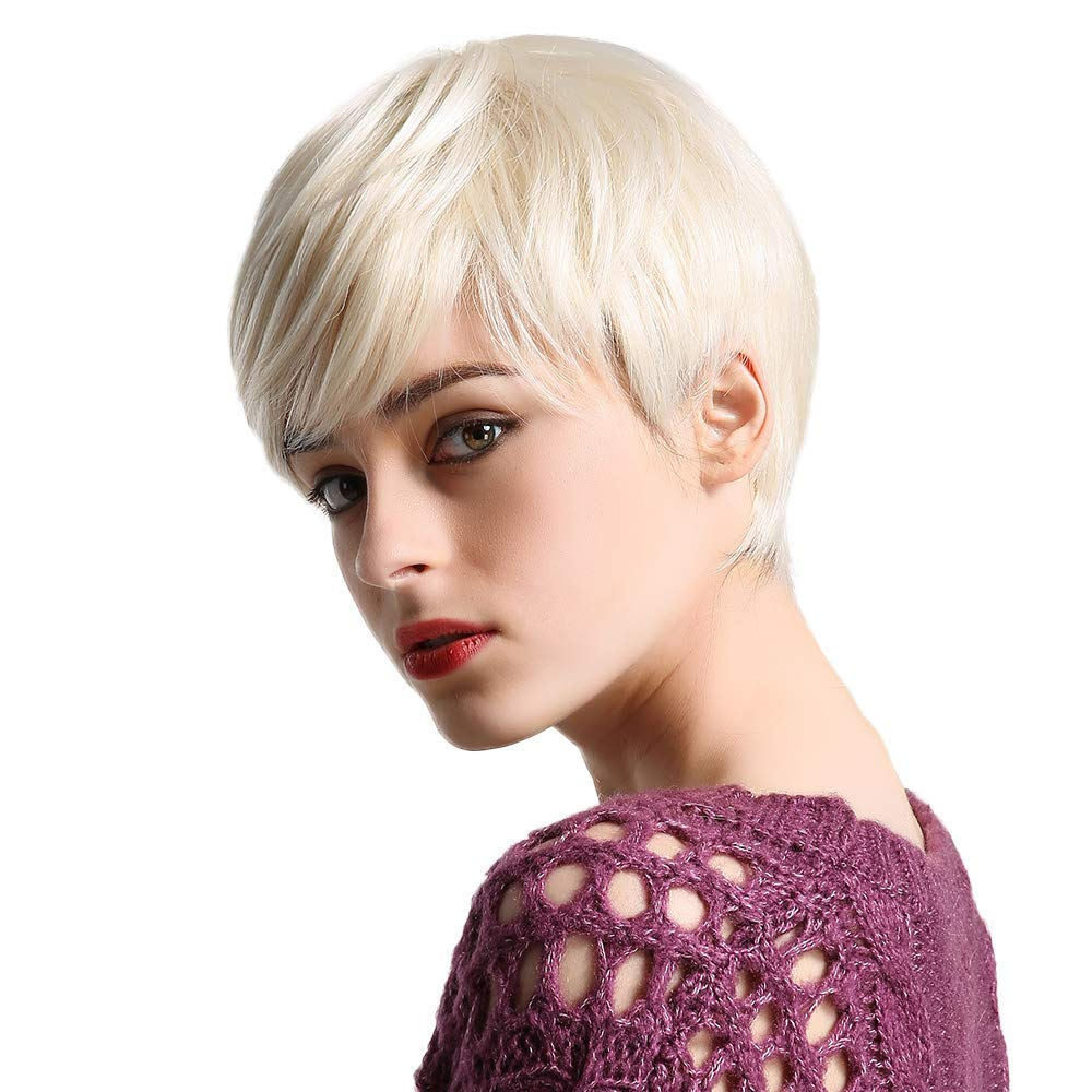 Haircube Short Platinum Blonde Human Hair Wigs For Women Blend Pixie Cut Wig With Bang Natural Daily Use Hair Buy Online In Congo At Desertcart