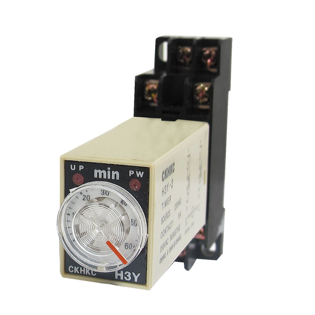 uxcell H3Y-2 220VAC DPDT 60 Minutes 60Min 8P Terminals Delay Timer Time Relay w Base a12121800ux0135