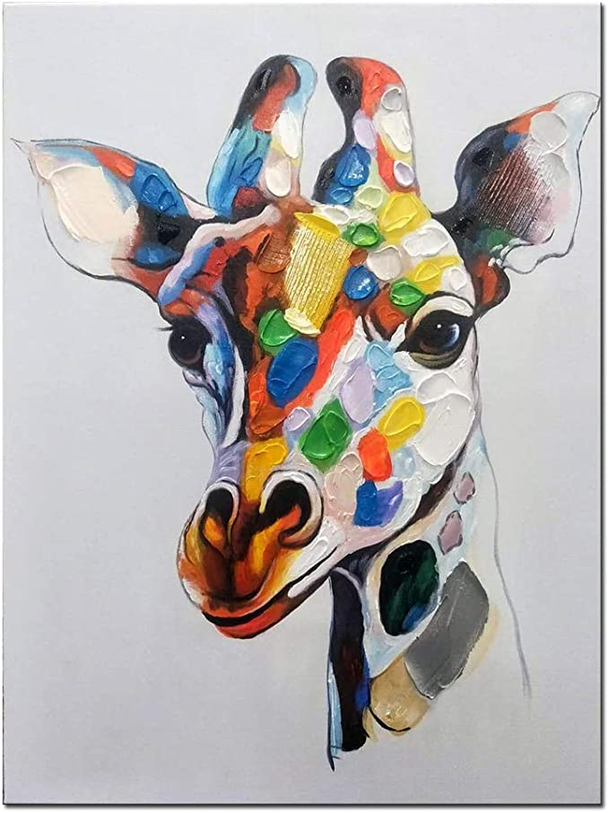 Amazon Com Fishpig Arts Colorful Giraffe Wall Art Canvas Oil Painting Frame 100 Hand Painted Animal Wall Picture Stretched Giclee Decor Ready To Hang For Bedroom Children 20x24inch 50x60cm Paintings