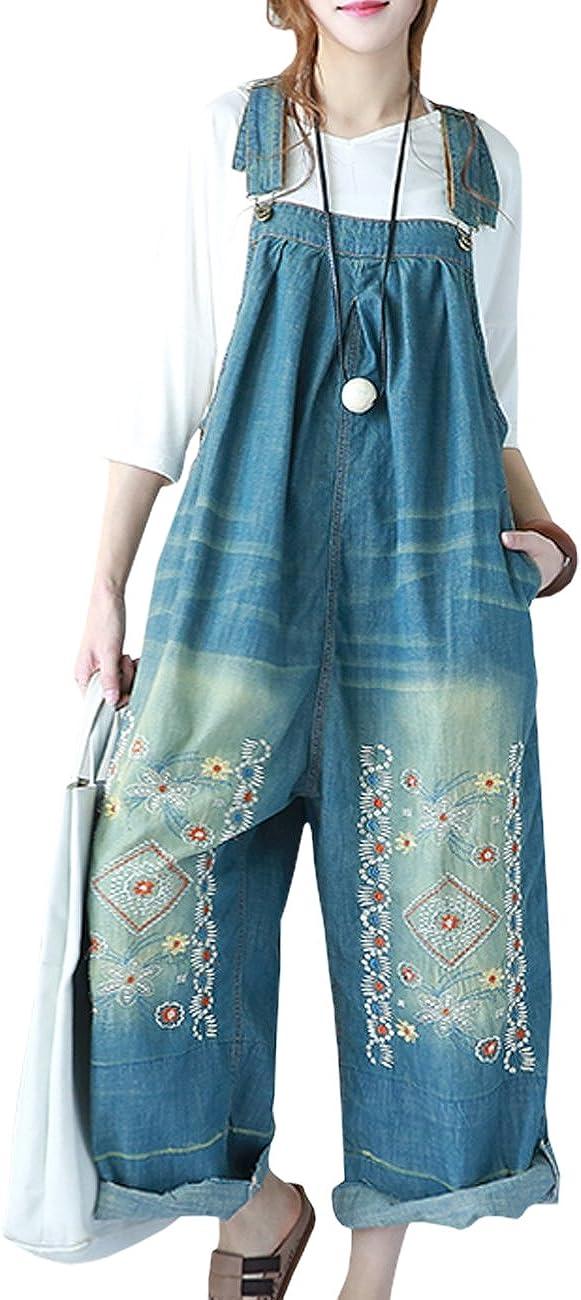 YESNO P91 Women Strap Rompers Jumpsuits Denim Casual Bib Pants Embroidery Distressed Boyfriend Wide Leg