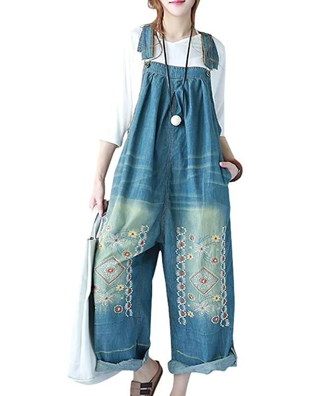 YESNO P91 Women Strap Rompers Jumpsuits Denim Casual Bib Pants Embroidery Distressed Boyfriend Wide Leg