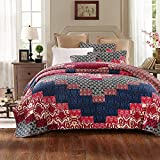 Tache 3 Piece Cotton Aztec Festival Pink Blue Patchwork Floral Reversible Quilt Bedspread Set, Queen
