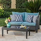 Cheap GDF Studio Charles Outdoor Grey Wicker Loveseat and Table Combo with Teal Water Resistant Cushions