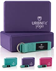 URBNFit Yoga Block - (1PC or 2PC Blocks Set with Stretch Strap) - Moisture Resistant High Density EVA Foam Block - Improve Balance and Flexibility Perfect for Home or Gym - Free PDF Workout Guide