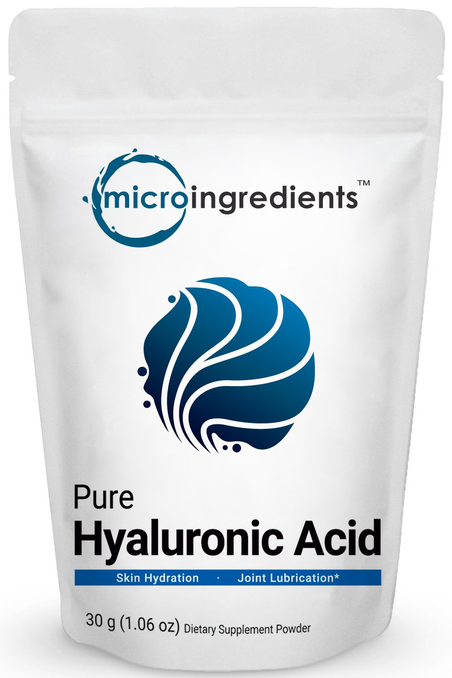 Purest Hyaluronic Acid Powder, For Making Anti-Aging Serum, Supporting Internal Hydration & Joint Health, 30 Grams. Non-Irradiated, Non-Contaminated and Non-GMO. Vegan Friendly.