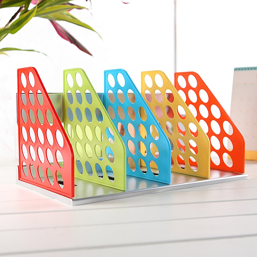 Olpchee Plastic DIY Bookend Adjustable Office Magazine Document File Holder Desk Storage Organizer Rack Colorful