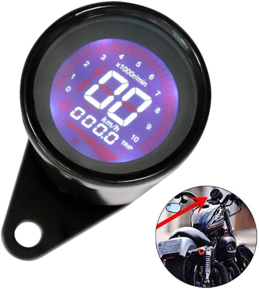 Acptxvh Universal 12V Veloc/ímetro de la Motocicleta H,Negro Modificado Digital Moto Veloc/ímetro Tac/ómetro LCD Gauge Display Moto Instrumento 0-10000RPM 0-199KM