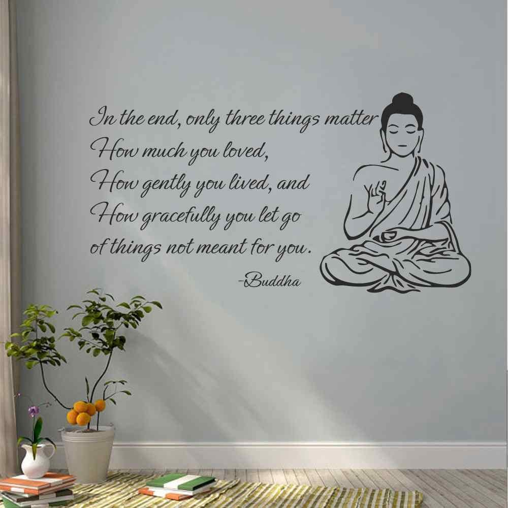 BATTOO Indian Buddha Wall Decal Sticker - Only Three Things Matter Religious OM Yoga Wall Art Decor Mural Buddha Wall Decal Sticker(Black, 12