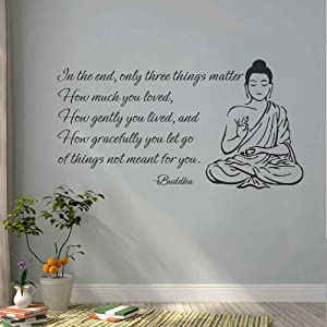 """BATTOO Indian Buddha Wall Decal Sticker - Only Three Things Matter Religious OM Yoga Wall Art Decor Mural Buddha Wall Decal Sticker(White, 18"""" h x34 w)"""
