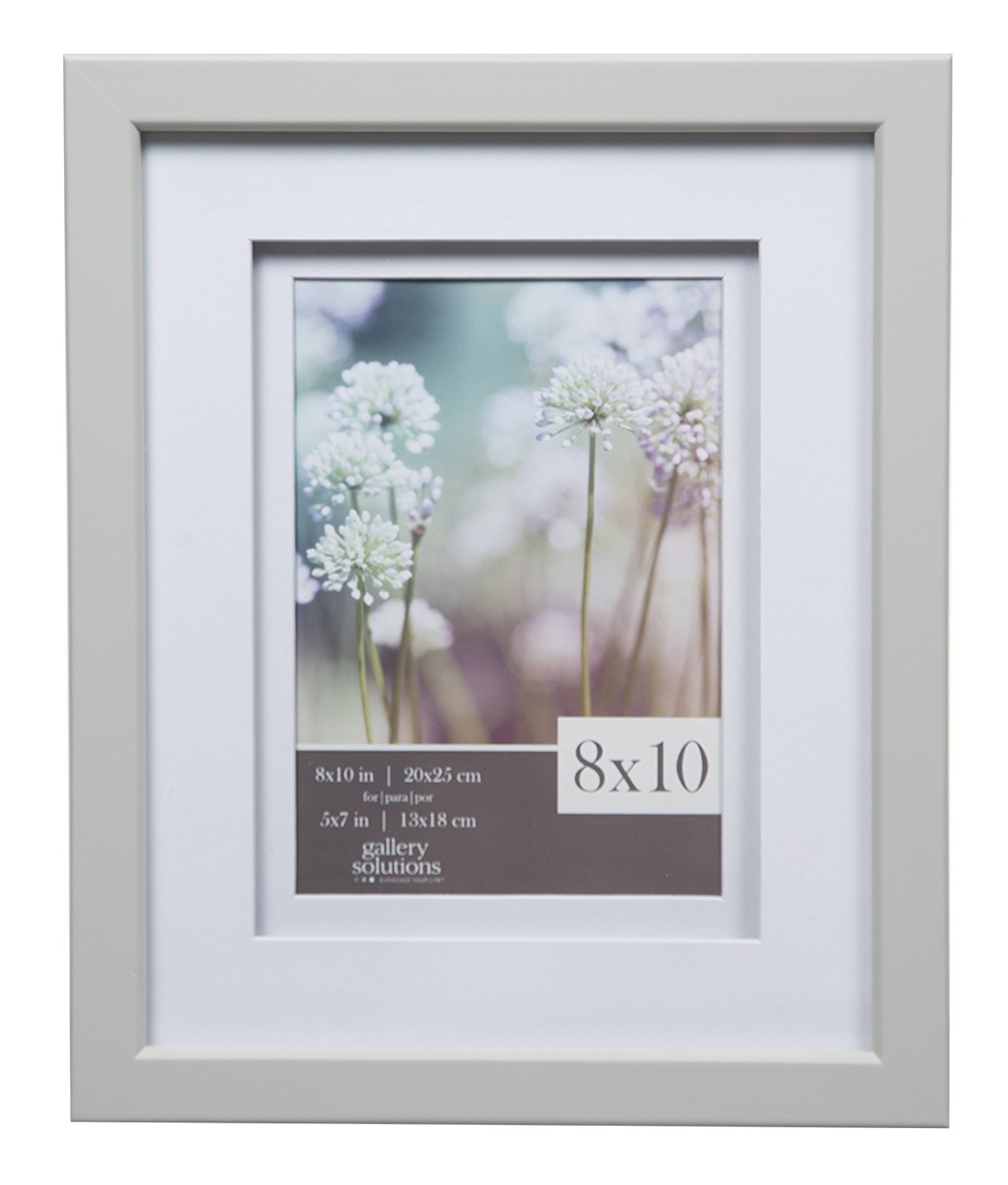 Amazon.com: Gallery Solutions 8x10 Light Grey Wood Frame with Double ...