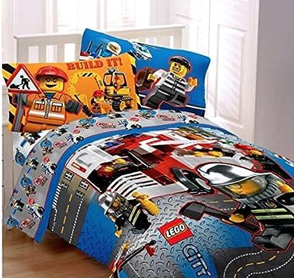 Lego City Twin Sized 4 Piece Bedding Set - Comforter & Sheet Set ...