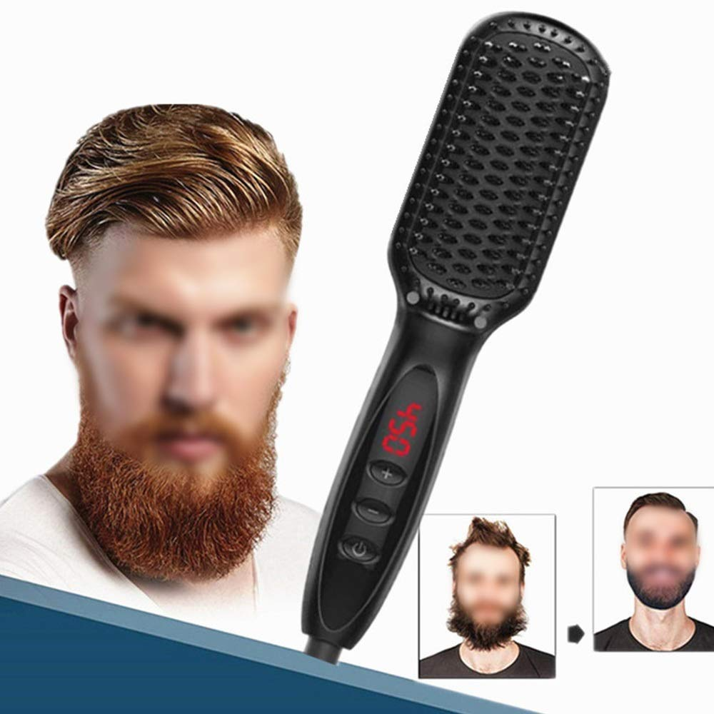 NATUREYUAN Hair Straightening Brush,Electric Straightener Comb Ceramic Flat Irons Hair Straightening Brush Hair Brush,Ionic Hair Straightener Brush (Color : Black) by NATUREYUAN