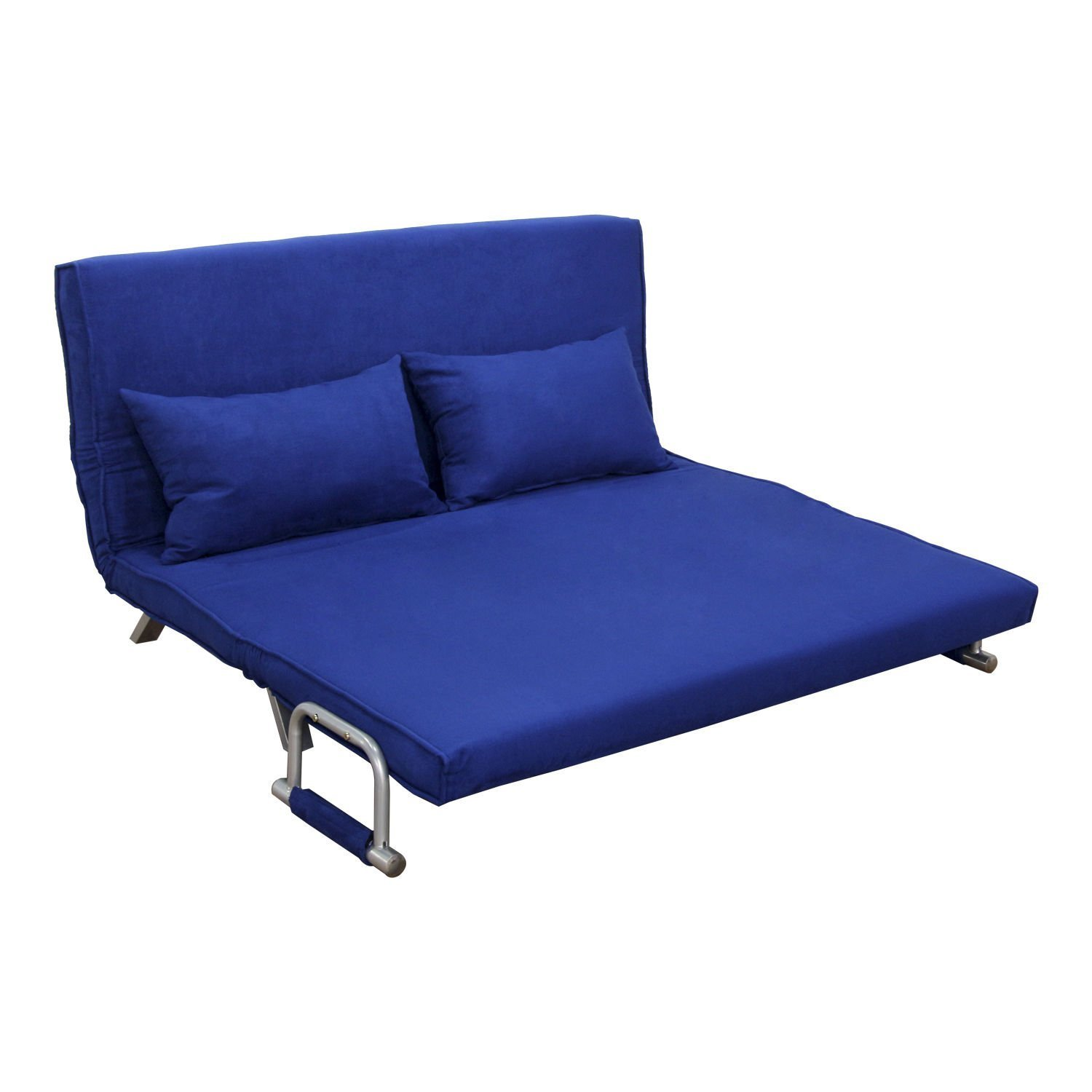 "Amazon Hom 61"" Folding Futon Sleeper Couch Sofa Bed Blue"