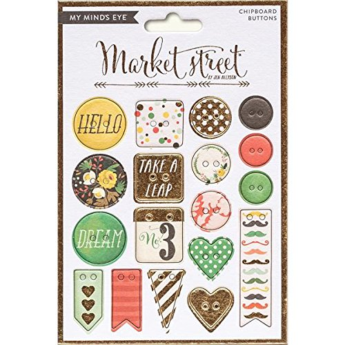 My Mind's Eye Market Street Decorative Chipboard Buttons, Nob Hill with Gold Foil