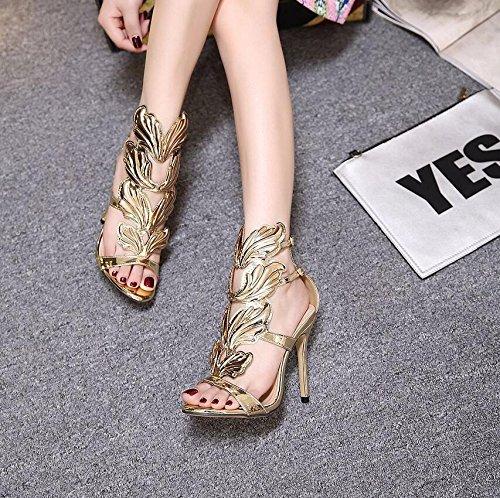YAFAN Tacones Finos Zapatos Sandalias Mujer Golden Alas Moda Personalidad Roma Punta Abierta PU Queen Fiesta Baile gold