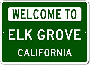 "VinMea Personalized Metal Sign Indoor/Outdoor Wall Decor,Elk Grove, California - Welcome to Us City State Sign - Aluminum 12"" X 18"" Inch, Man Cave Street Sign,"