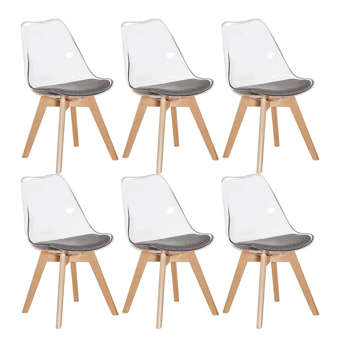 Set di 2 4 6 sedie trasparente in policarbonato sedie for Sedie cucina moderne