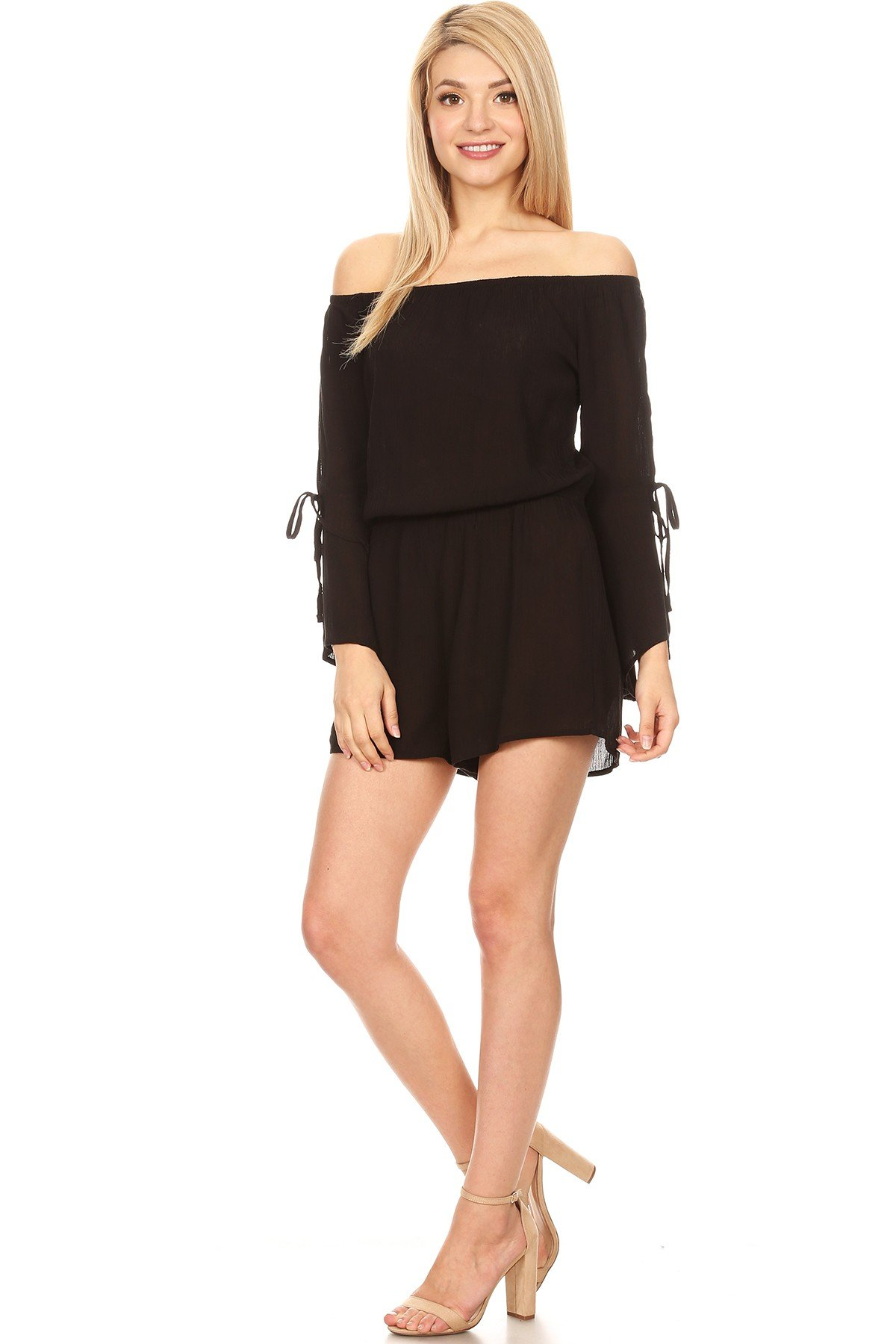 Ambiance Apparel Sexy Solid Off-Shoulder Long Sleeves Romper for Women's (Small, Black)