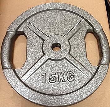 Discos de pesos para barras y mancuernas, 15 kg con empuñadura handlegrip: Amazon.es: Deportes y aire libre