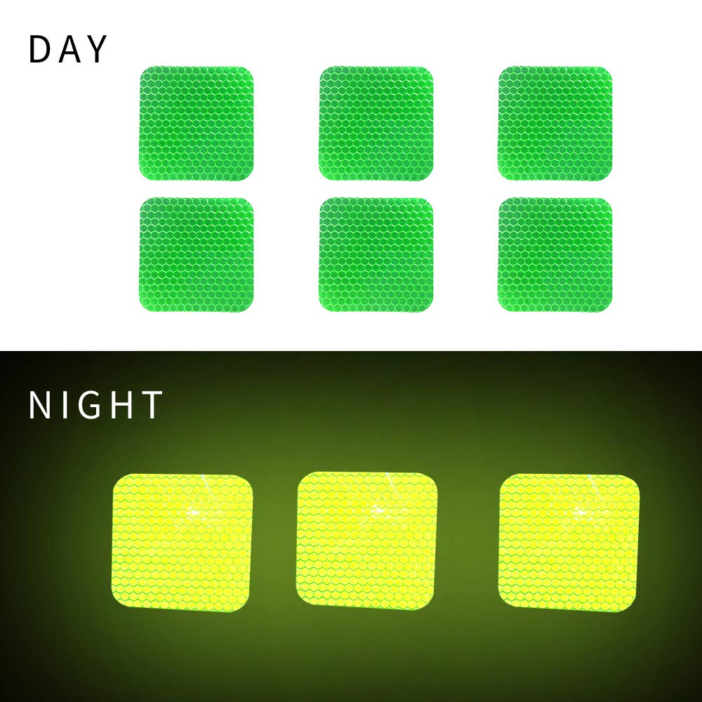 20Pcs 6cm Square High Intensity Grade Reflective Tape Pack Safety Warning Decal Stickers Pack Reflective Stickers Pack for Backpack Car Motorcycle Bike Red