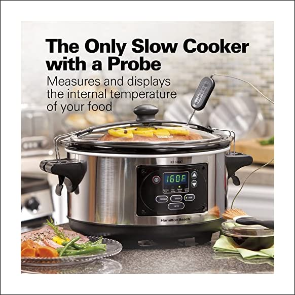 Hamilton Beach (33969A) Slow Cooker, Programmable, 6 Quart With Temperature Probe, Sealing Lid and Transport Clips, Stainless Steel