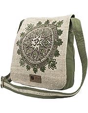 Natural Hemp-Cotton Eco Mandala Hippie Boho Cross Body Messenger Bag Sling Bag, Sage (Green) - 90458-3