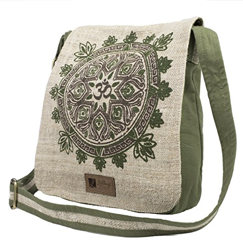 (Natural Hemp-Cotton Eco Mandala Cross body Messenger Bag-Sage-One Size )
